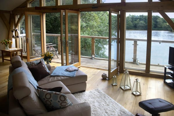 Looking over the private lake from the Boathouse, Middleton Hall, Belford