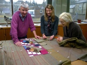 Archie Hume with R&T designers, selecting Tweed for the exclusive A Hume Bladen range.