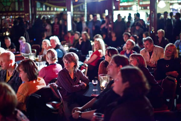 Edinbugh International Book Festival audience in Spiegeltent