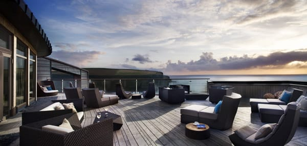 The Relaxation Terrace at the Scarlet Hotel, Cornwall, England.