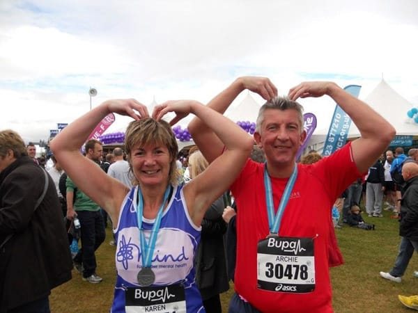 Karen and Archie Hume making merry with the Mo Farah 'M' at the Great North Run.