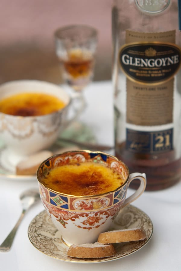 Creme Brûlée with Golden Glengoyne Soaked-Sultanas, Orange and Hazelnut Shortbread.