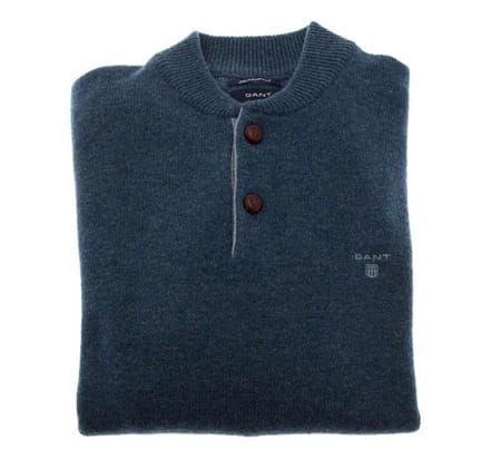 Gant Lambswool Baseball Neck - Indigo.