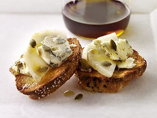 stilton and pear crostini