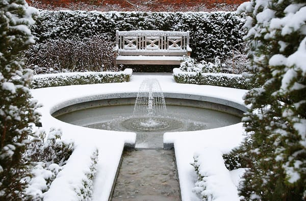 The bare bones of Alnwick Garden, beautiful and sparse in the winter snow.