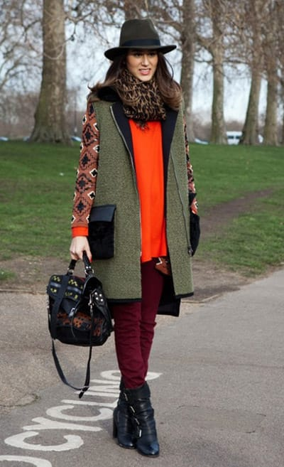 Tweed with orange pop colour