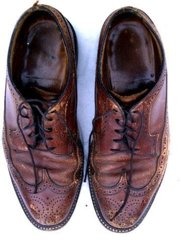 scuffed old brogues