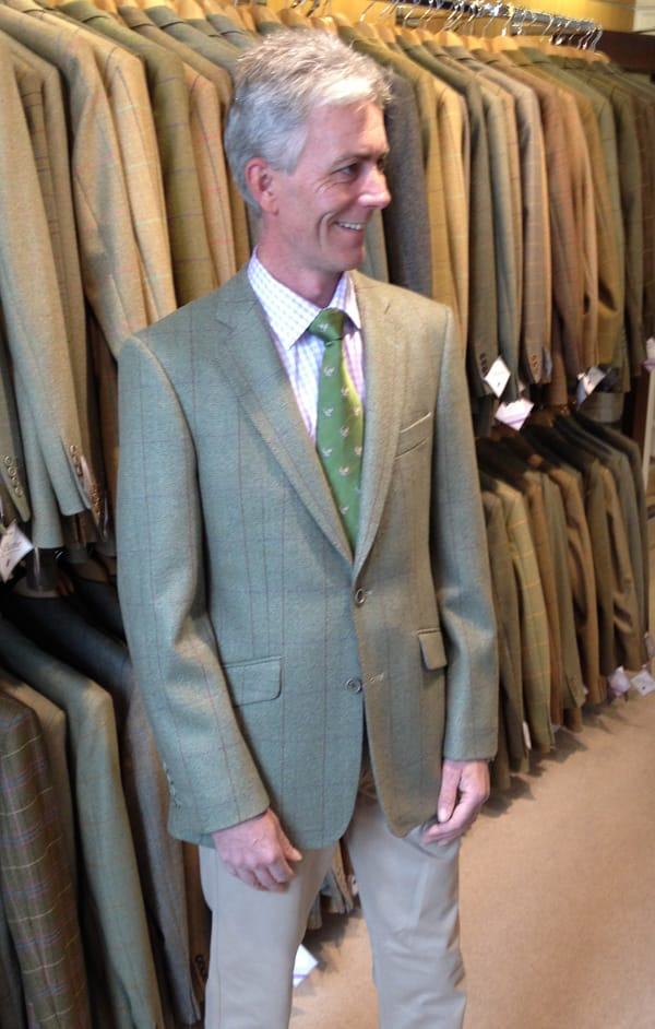 John Hill trying on his new A Hume Badminton outfit for the Trot Up
