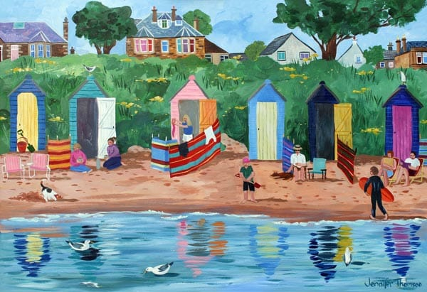 A Row of Beach Huts, Earlsferry, by Jennifer Thomson.