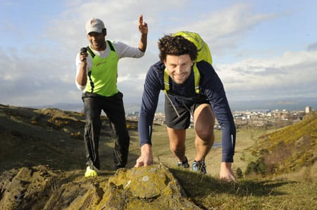 James Mace with trainer and natural running expert, Abdelhadi Elmoustahli. Photo credit: Greg Macvean