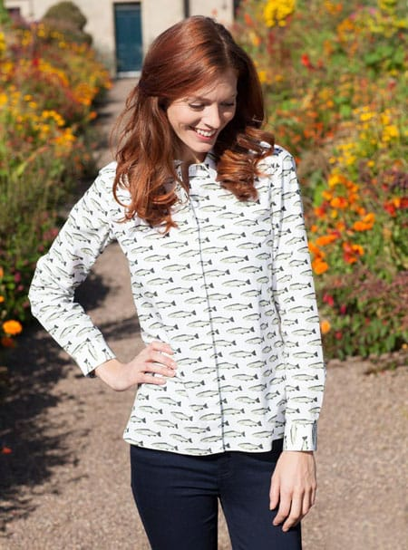 Gibson and Birkbeck White Fish Print Shirt