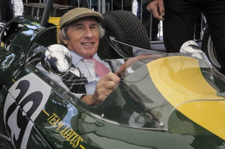 Sir Jackie Stewart wearing an A Hume tweed cap at the Jim Clark Memorial Weekend, May 2015.