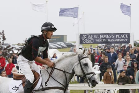 Andrew Nicholson and the wonderful Avebury enroute to their fourth consecutive in the 3 star competition last year. Image credit: The St James's Place Barbury International Horse Trials.