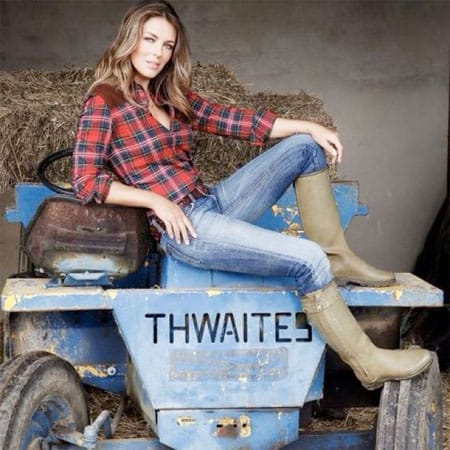 Liz Hurley flirted with farming life. Notice the Le Chameau wellies - good choice. Image source: Pinterest.