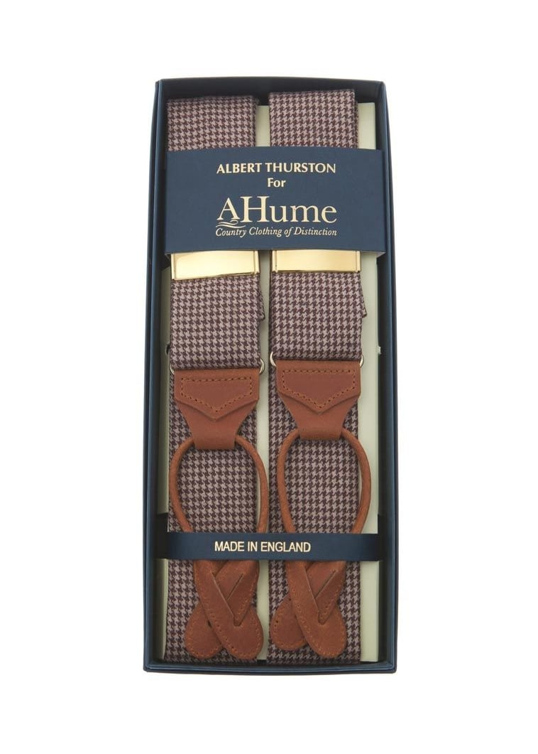 Albert Thurston Dogs Tooth Tweed Check Braces Large Image