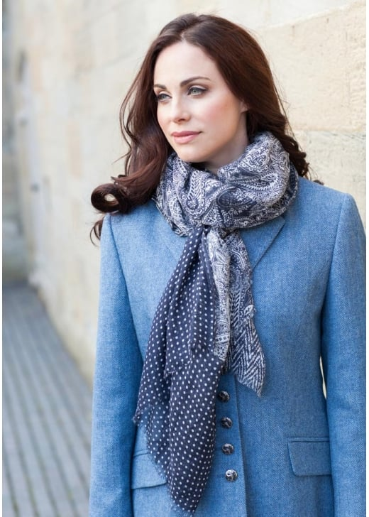 Anna Lascata Dots and Herringbone Scarf
