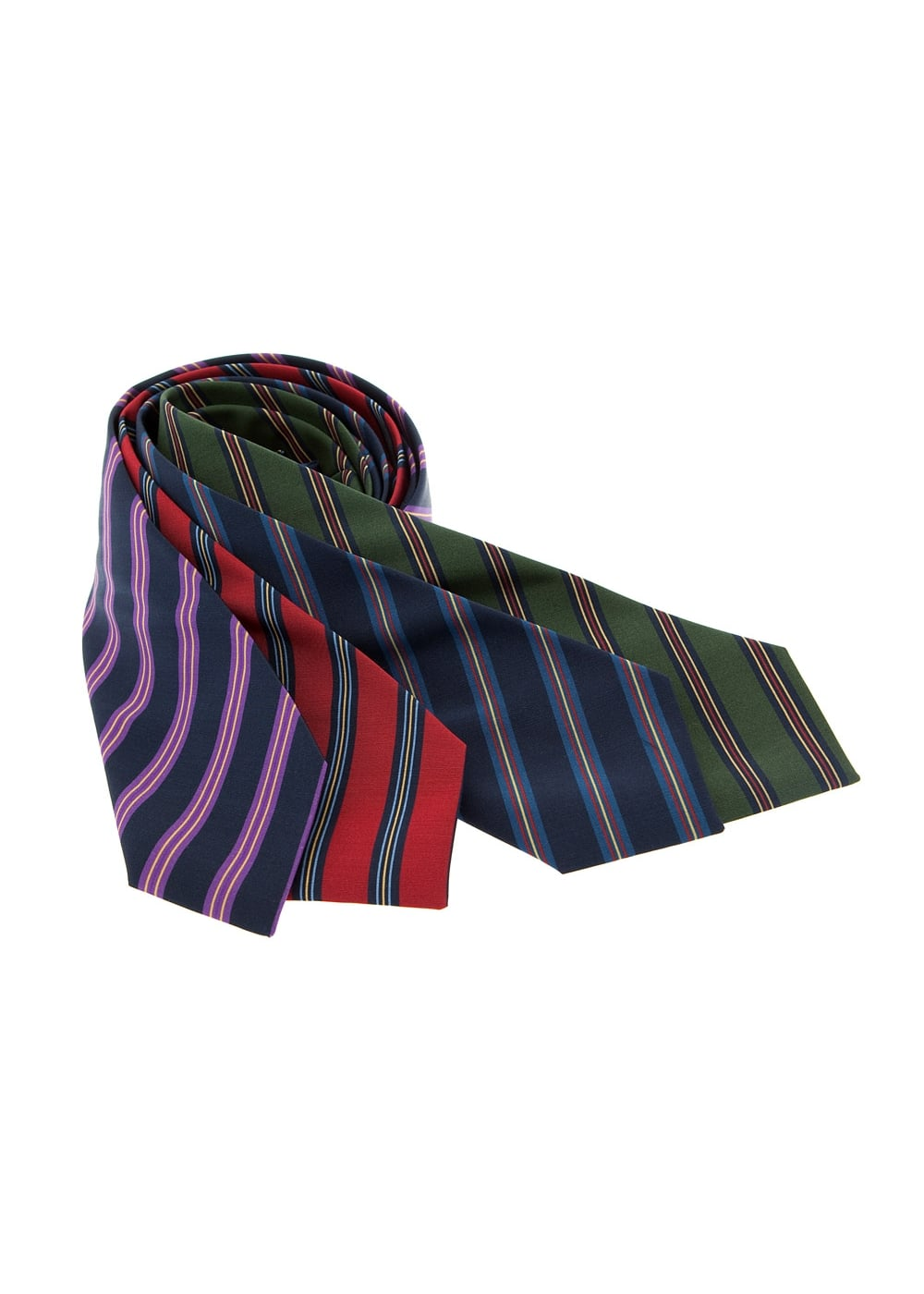 Atkinsons Double Regimental Stripe Silk Tie Large Image