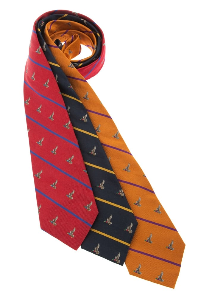 Atkinsons Duck Stripe Silk Tie Large Image