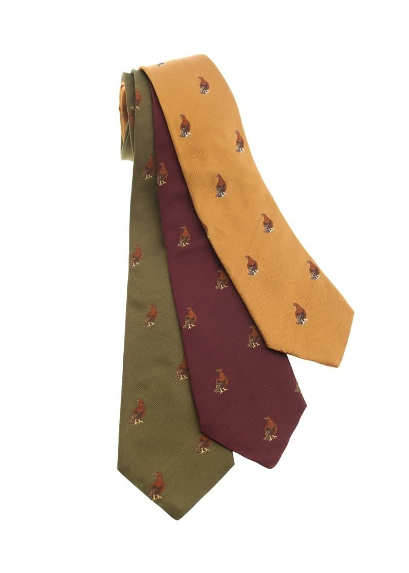 Atkinsons Grouse Birds Silk Tie NEW COLOURS Large Image