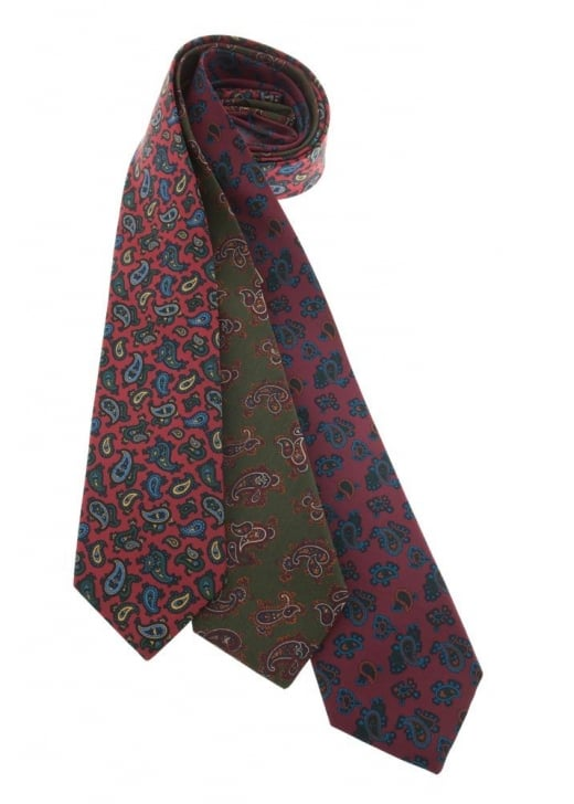 Atkinsons Large Paisley Irish Poplin Tie