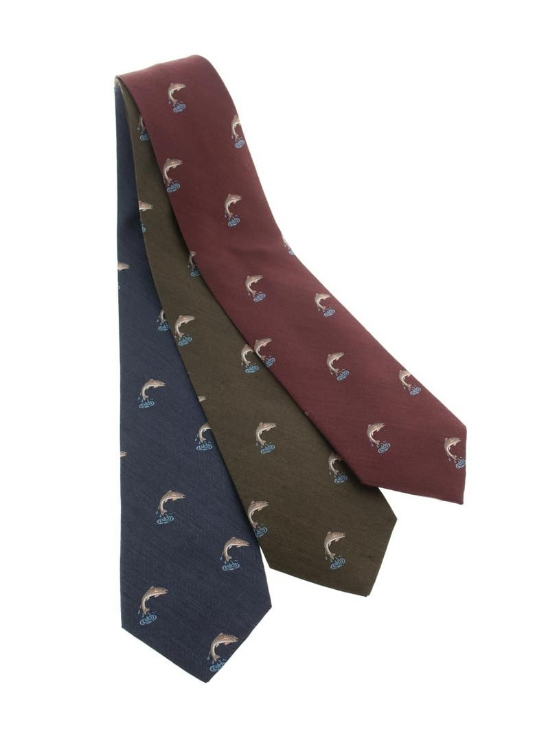 Atkinsons Leaping Salmon Silk and Wool Tie  Large Image