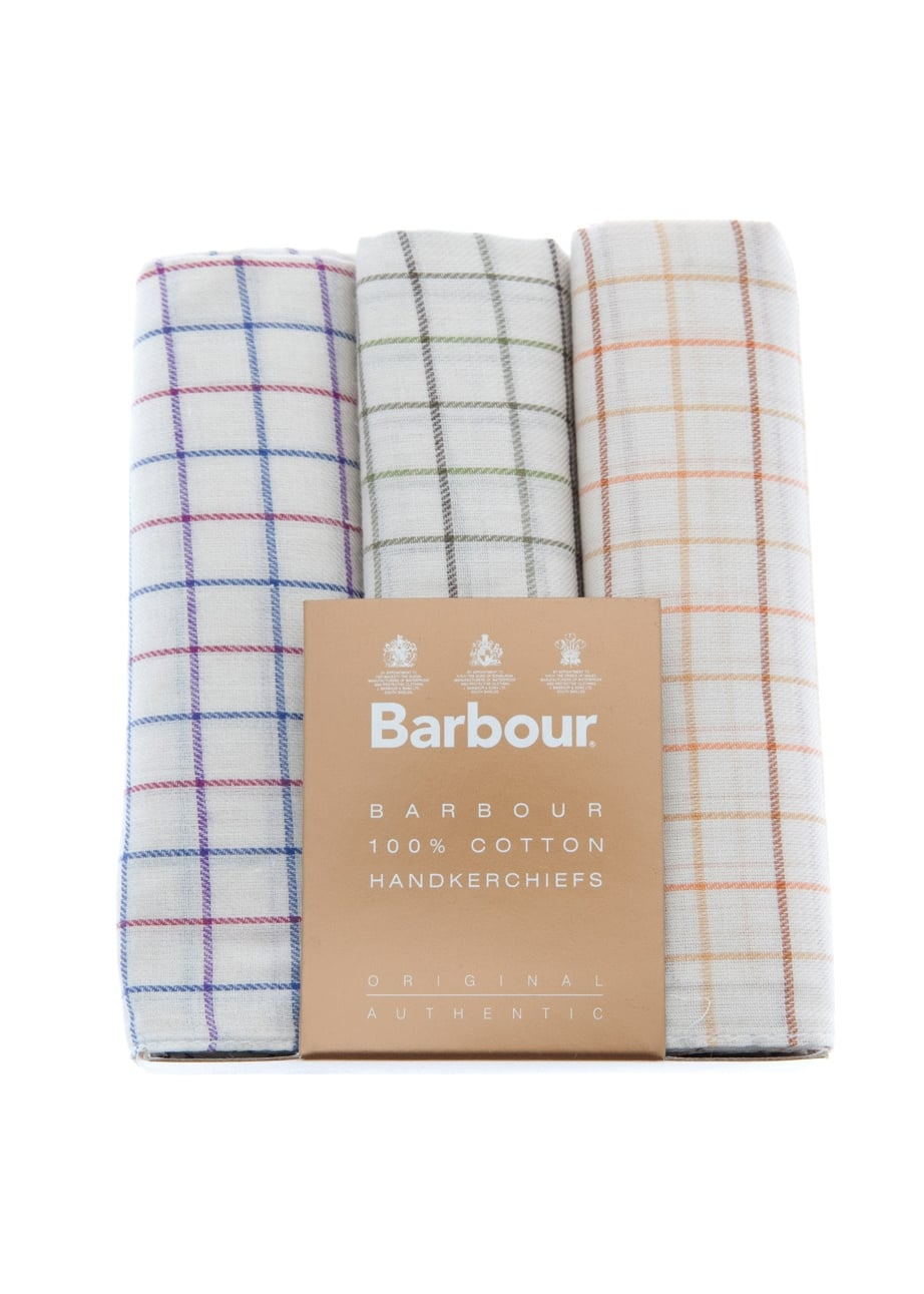 Barbour 3 Pack Checked Handkerchiefs Large Image