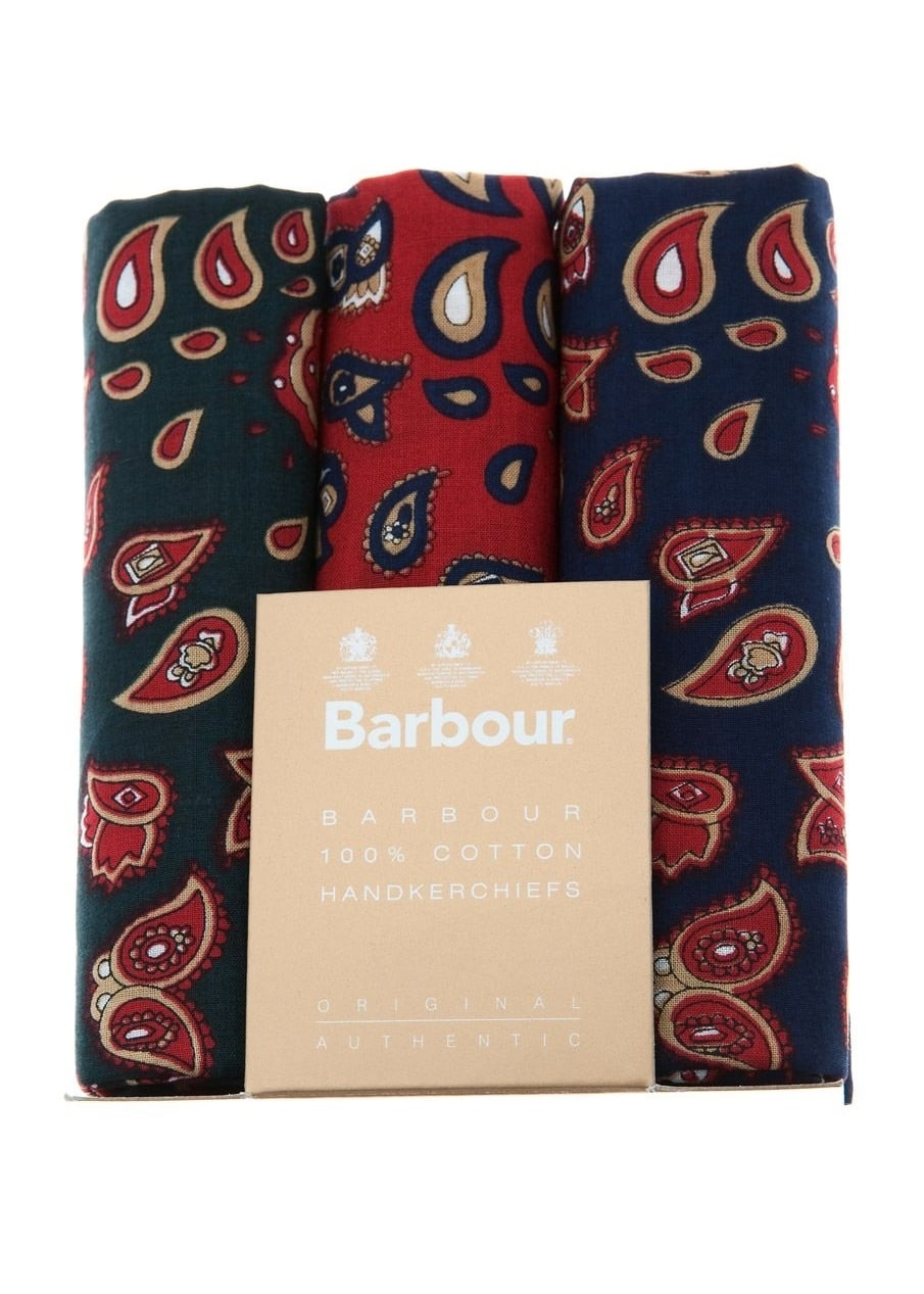 Barbour 3 Pack Paisley Handkerchiefs Large Image