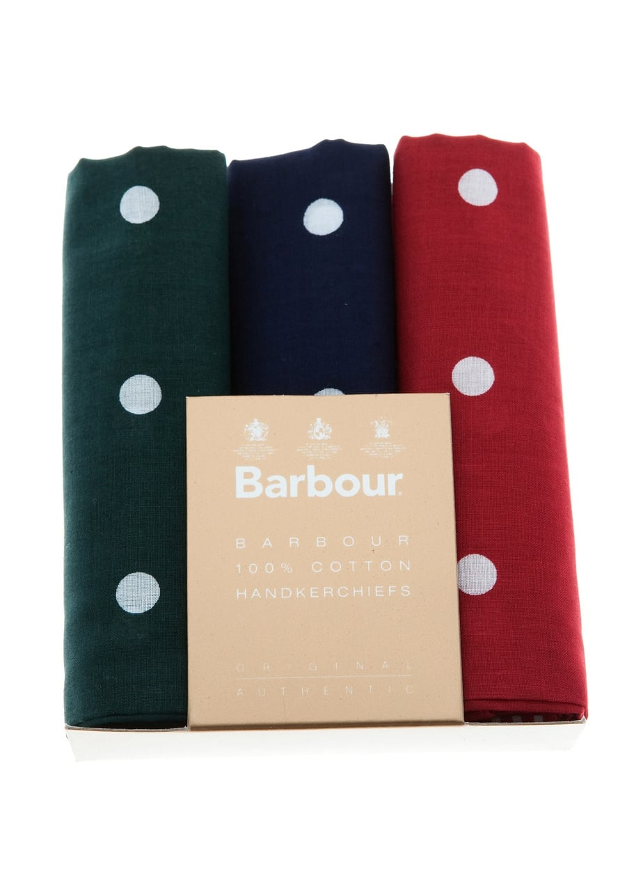 Barbour 3 Pack Spotted Handkerchiefs Large Image