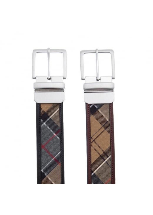 Barbour Reverse Tartan Leather Belt