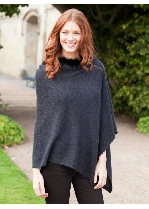Brodie Cashmere Mini Poncho with Fur