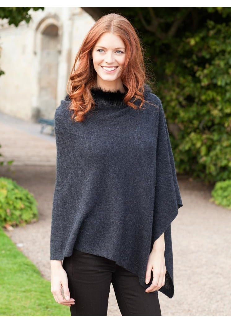 Brodie Cashmere Mini Poncho with Fur NEW COLOUR Large Image