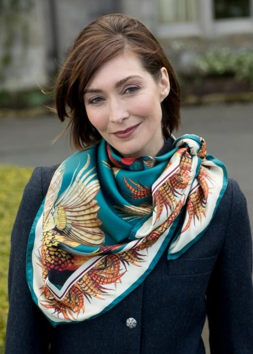Clare Shaw Turf War Silk Square Scarf