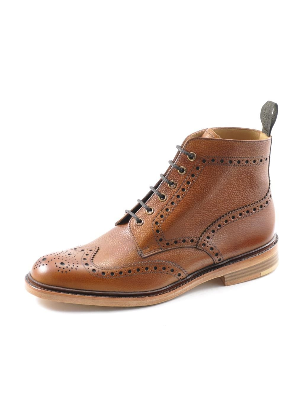 Loake Brown leather Cogswell lace up brogue boots Upper Leather shk 22823