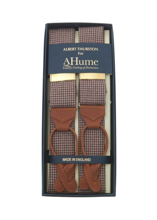 Albert Thurston Dogs Tooth Tweed Check Braces