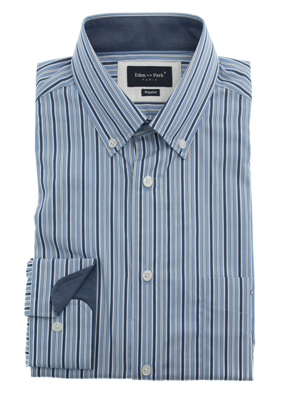 1e43011f White Collar Striped Shirt Mens