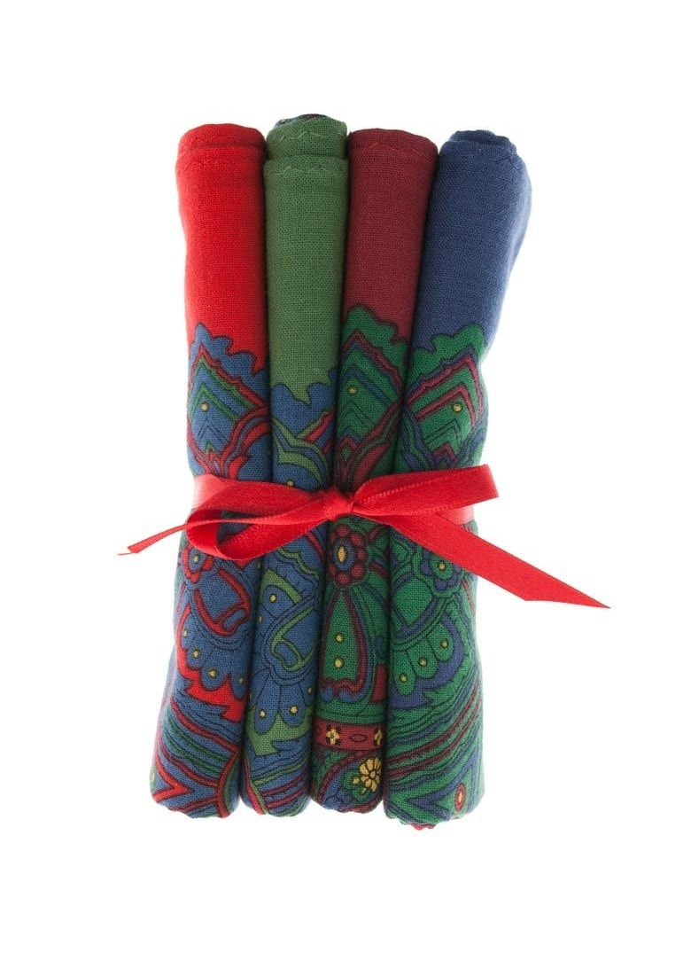 PL Sells Large 4 Pack Tied Paisley Handkerchiefs Large Image