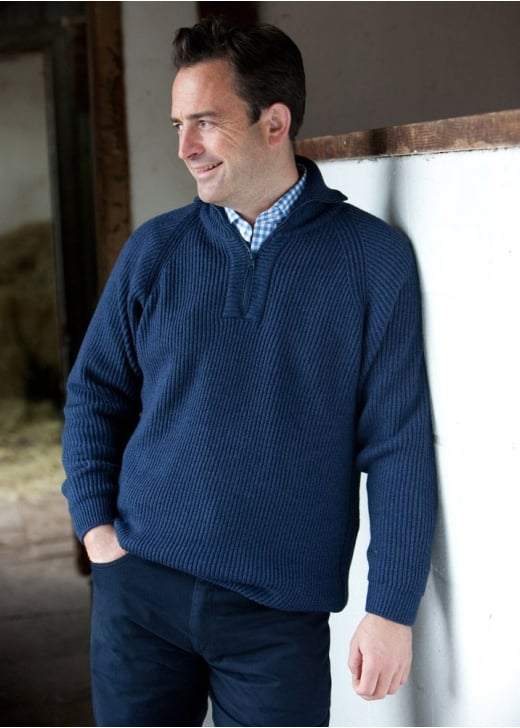 William Lockie Ettrick Merino Wool Zip Neck