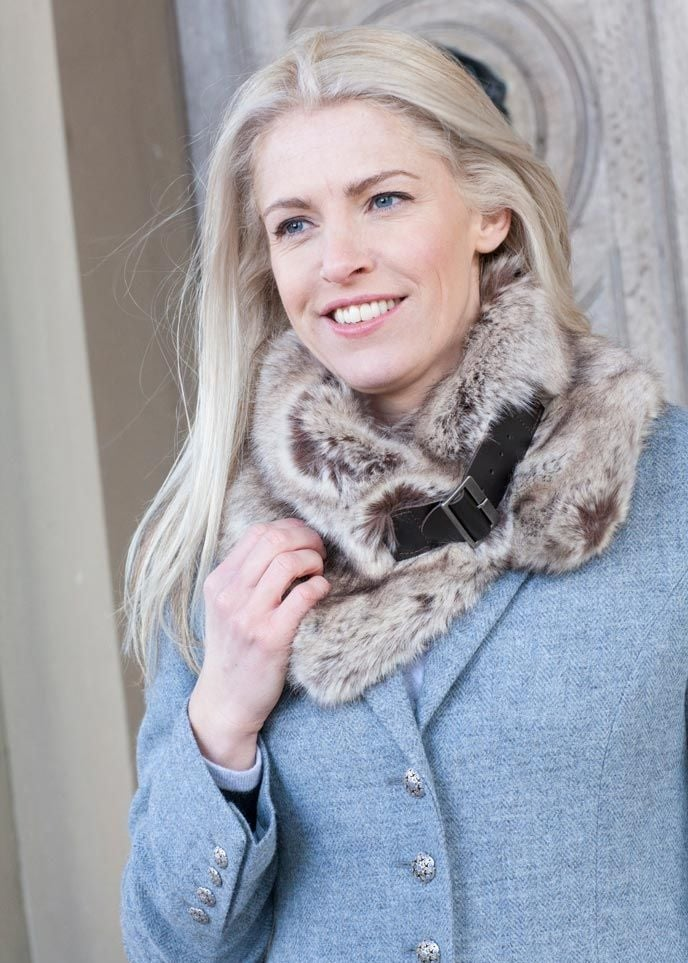 Helen Moore Faux Fur Buckle Collar  Large Image