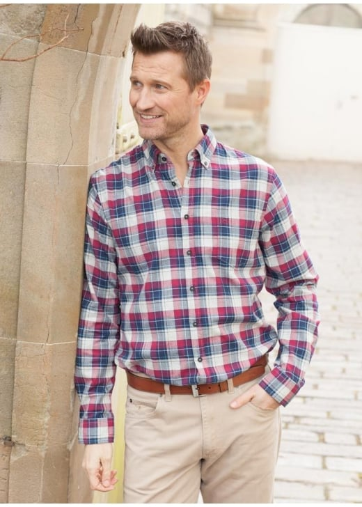 Brax Herringbone Check Heather Twill Shirt