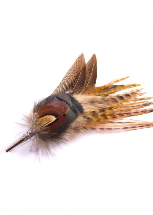 Hicks & Brown Feather Brooch - Gamebird Feathers