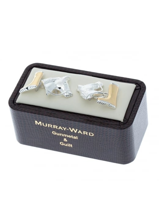 Murray Ward Horse Head and Boot Gunmetal and Gilt Cufflinks