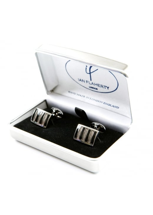 Ian Flaherty Black and Silver Rectangle Cufflinks