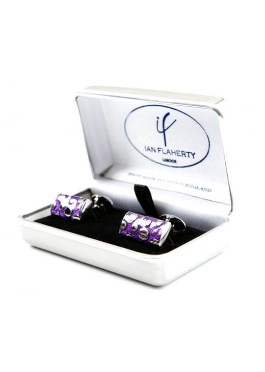 Ian Flaherty Purple and Silver Rectangle Cufflinks