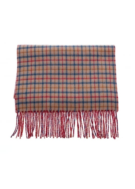 Johnstons of Elgin Small Check Face/Plain Bright Reverse Scarf