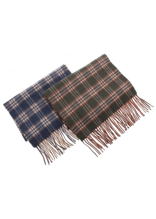 Johnstons of Elgin Sport Check Face/Plain Reverse Scarf