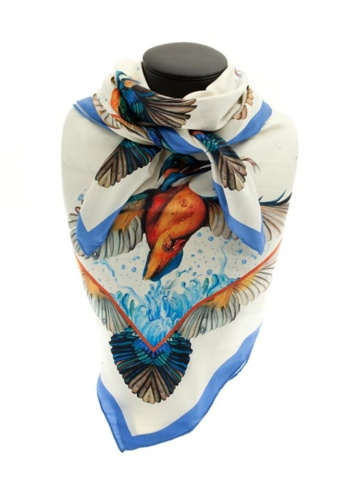 Clare Shaw Kingfisher Silk Square Scarf