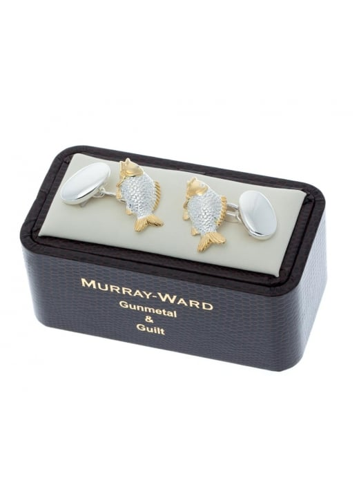 Murray Ward Carp Gunmetal and Gilt Cufflinks