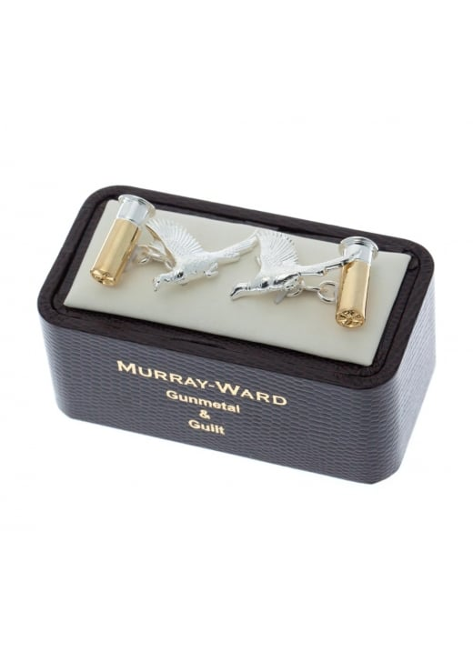 Murray Ward Flying Pheasant Cartridge Gunmetal and Gilt Cufflinks