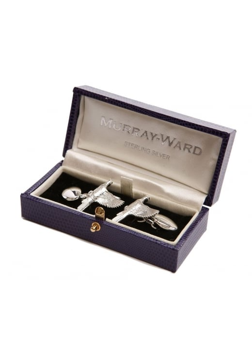 Murray Ward Flying Pheasant Sterling Silver Cufflinks