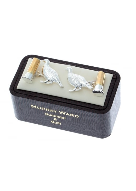 Murray Ward Grouse and Cartridge Gunmetal and Gilt Cufflinks